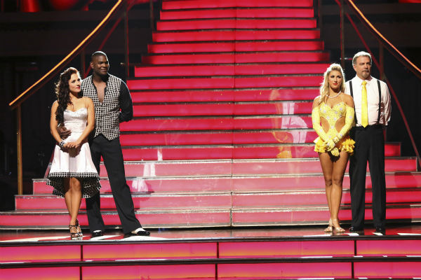 Keyshawn Johnson and Sharna Burgess await and Bill Engvall and Emma Slater await their fate on week 2 of &#39;Dancing With The Stars&#39; on Sept. 23, 2013. <span class=meta>(ABC Photo &#47; Adam Taylor)</span>