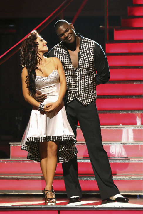 Keyshawn Johnson and Sharna Burgess react to being eliminated on week 2 of 'Dancing With The Stars' on Sept. 23, 2013. They received 18 out of 30 points from the judges for their Samba.