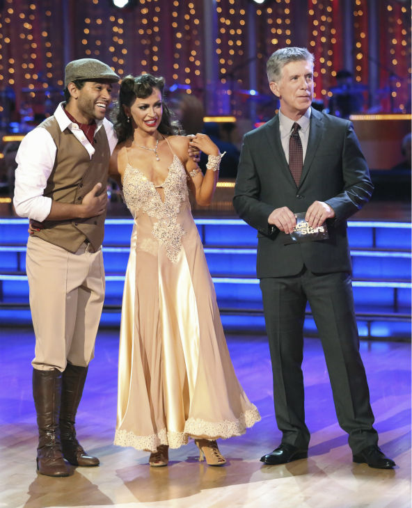 "<div class=""meta ""><span class=""caption-text "">Corbin Bleu and Karina Smirnoff await their fate on week three of 'Dancing With The Stars' on Sept. 30, 2013. They received 26 out of 30 points from the judges for their Quickstep. (ABC Photo / Adam Taylor)</span></div>"