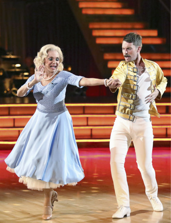 "<div class=""meta image-caption""><div class=""origin-logo origin-image ""><span></span></div><span class=""caption-text"">Valerie Harper and Tristan MacManus dance the Cha Cha Cha on week three of 'Dancing With The Stars' on Sept. 30, 2013. They received 16 out of 30 points from the judges. (ABC Photo / Adam Taylor)</span></div>"