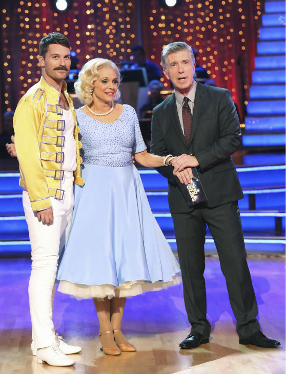 "<div class=""meta ""><span class=""caption-text "">Valerie Harper and Tristan MacManus await their fate on week three of 'Dancing With The Stars' on Sept. 30, 2013. They received 16 out of 30 points from the judges for their Cha Cha Cha. (ABC Photo / Adam Taylor)</span></div>"