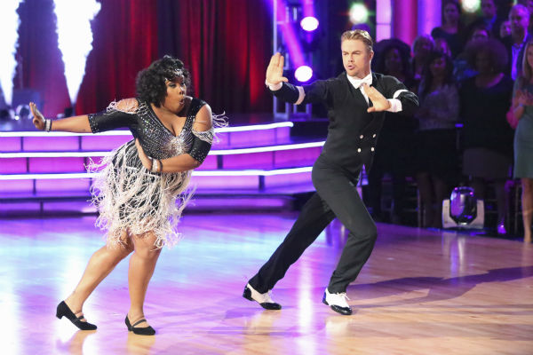 Amber Riley and Derek Hough dance the Charleston on week three of 'Dancing With The Stars' on Sept. 30, 2013. They received 24 out of 30 points from the judges.