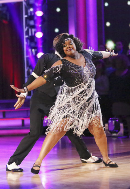 "<div class=""meta ""><span class=""caption-text "">Amber Riley and Derek Hough dance the Charleston on week three of 'Dancing With The Stars' on Sept. 30, 2013. They received 24 out of 30 points from the judges. (ABC Photo / Adam Taylor)</span></div>"