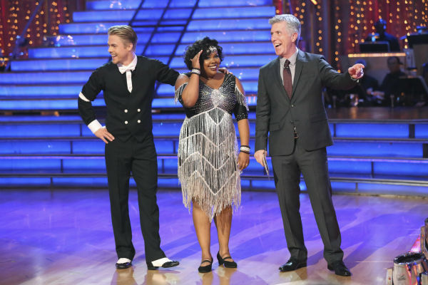 Amber Riley and Derek Hough react to being safe on week three of 'Dancing With The Stars' on Sept. 30, 2013. They received 24 out of 30 points from the judges for their Charleston.