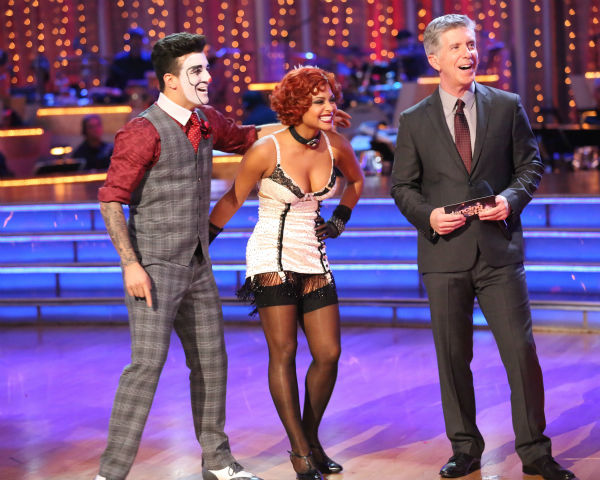 "<div class=""meta image-caption""><div class=""origin-logo origin-image ""><span></span></div><span class=""caption-text"">Christina Milian and Mark Ballas await their fate on week three of 'Dancing With The Stars' on Sept. 30, 2013. They received 26 out of 30 points from the judges for their Charleston. (ABC Photo / Adam Taylor)</span></div>"