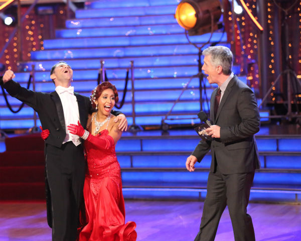 "<div class=""meta ""><span class=""caption-text "">Nicole 'Snooki' Polizzi and Sasha Farber find out they are safe from elimination on week three of 'Dancing With The Stars' on Sept. 30, 2013. They received 25 out of 30 points from the judges for their Quickstep. (ABC Photo / Adam Taylor)</span></div>"