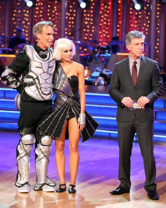 "<div class=""meta ""><span class=""caption-text "">Bill Nye and Tyne Stecklein await their fate on week three of 'Dancing With The Stars' on Sept. 30, 2013. They received 16 out of 30 points from the judges for their Jazz. (ABC Photo / Adam Taylor)</span></div>"