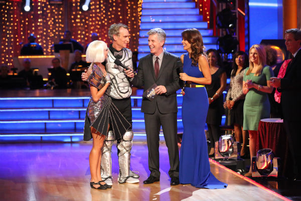 Bill Nye and Tyne Stecklein react to being eliminated on week three of 'Dancing With The Stars' on Sept. 30, 2013. They received 16 out of 30 points from the judges for their Jazz.