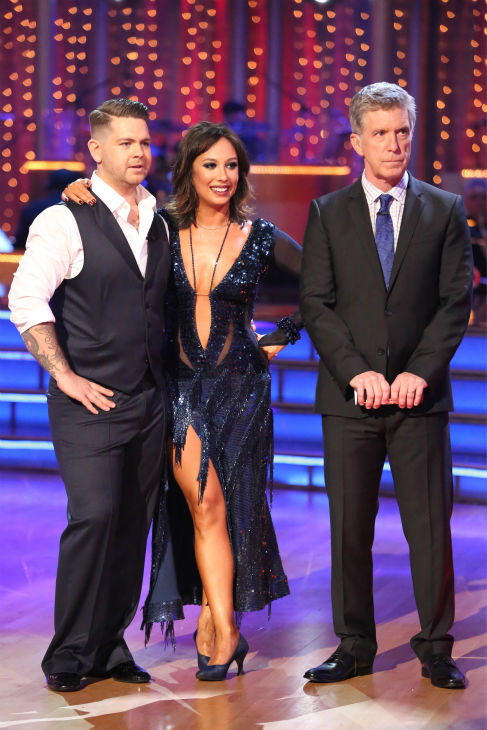 "<div class=""meta ""><span class=""caption-text "">Jack Osbourne and Cheryl Burke await their fate on week four of 'Dancing With The Stars' on Oct. 7, 2013. They received 24 out of 30 points from the judges for their Quickstep. (ABC Photo / Adam Taylor)</span></div>"