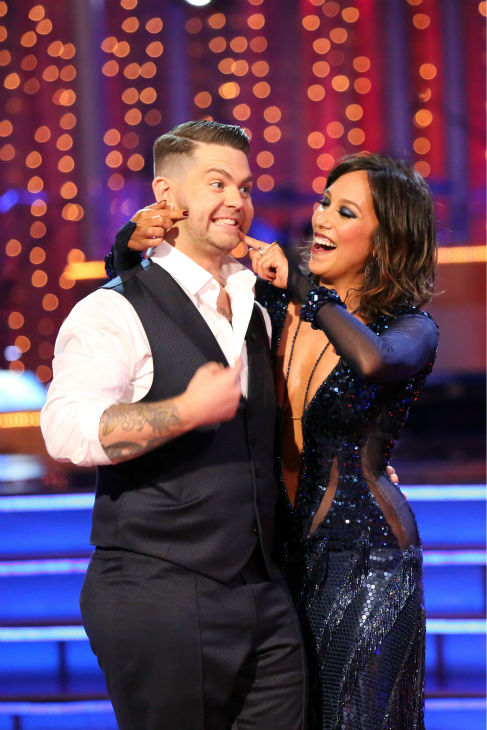 "<div class=""meta ""><span class=""caption-text "">Jack Osbourne and Cheryl Burke react to being safe on week four of 'Dancing With The Stars' on Oct. 7, 2013. They received 24 out of 30 points from the judges for their Quickstep. (ABC Photo / Adam Taylor)</span></div>"