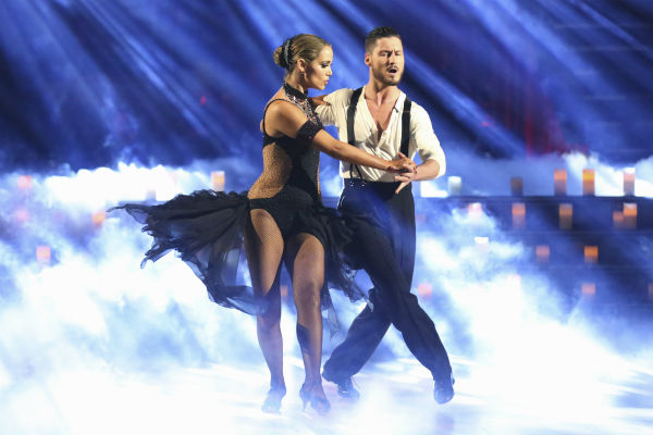 "<div class=""meta ""><span class=""caption-text "">Elizabeth Berkley and Val Chmerkovskiy dance the Argentine Tango on week four of 'Dancing With The Stars' on Oct. 7, 2013. They received 27 out of 30 points from the judges. (ABC Photo / Adam Taylor)</span></div>"