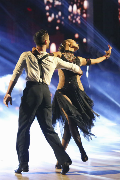Elizabeth Berkley and Val Chmerkovskiy dance the Argentine Tango on week four of &#39;Dancing With The Stars&#39; on Oct. 7, 2013. They received 27 out of 30 points from the judges. <span class=meta>(ABC Photo &#47; Adam Taylor)</span>