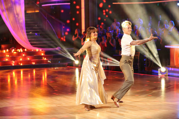 Valerie Harper and Tristan MacManus dance the Viennese Waltz on week four of &#39;Dancing With The Stars&#39; on Oct. 7, 2013. They received 18 out of 30 points from the judges. <span class=meta>(ABC Photo &#47; Adam Taylor)</span>