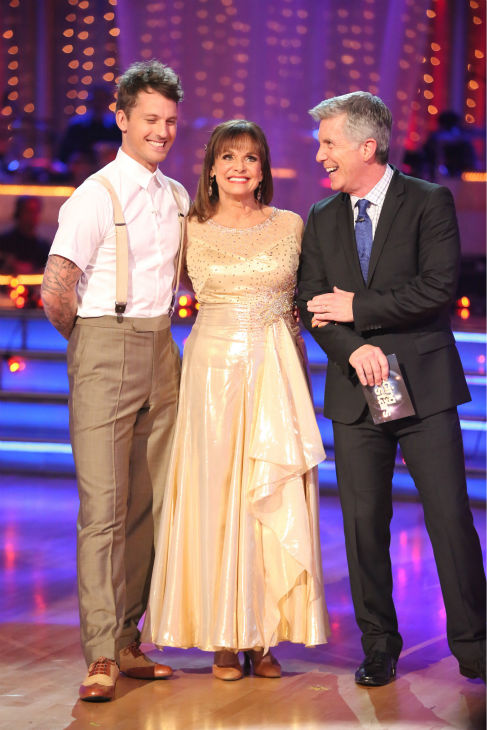 "<div class=""meta image-caption""><div class=""origin-logo origin-image ""><span></span></div><span class=""caption-text"">Valerie Harper and Tristan MacManus await their fate on week four of 'Dancing With The Stars' on Oct. 7, 2013. They received 18 out of 30 points from the judges for their Viennese Waltz. (ABC Photo / Adam Taylor)</span></div>"