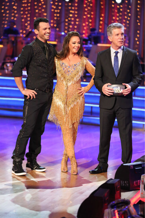 Leah Remini await their fate on week four of &#39;Dancing With The Stars&#39; on Oct. 7, 2013. They received 24 out of 30 points from the judges for their Cha Cha Cha. <span class=meta>(ABC Photo &#47; Adam Taylor)</span>