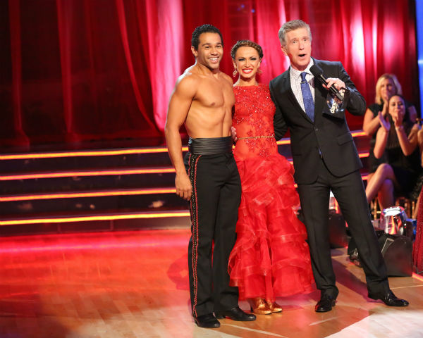 "<div class=""meta ""><span class=""caption-text "">Corbin Bleu and Karina Smirnoff await their fate on week four of 'Dancing With The Stars' on Oct. 7, 2013. They received 27 out of 30 points from the judges for their Paso Doble. (ABC Photo / Adam Taylor)</span></div>"