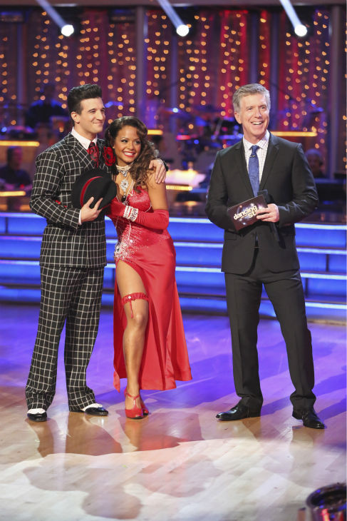 "<div class=""meta ""><span class=""caption-text "">Christina Milian and Mark Ballas await their fate on week four of 'Dancing With The Stars' on Oct. 7, 2013. They received 24 out of 30 points from the judges for their Foxtrot. (ABC Photo / Adam Taylor)</span></div>"