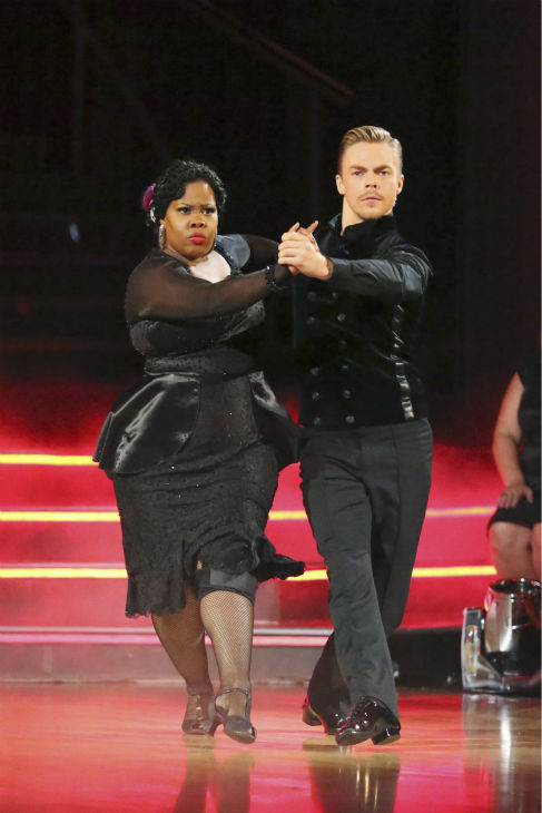 "<div class=""meta ""><span class=""caption-text "">Amber Riley and Derek Hough dance the Tango on week four of 'Dancing With The Stars' on Oct. 7, 2013. They received 27 out of 30 points from the judges. (ABC Photo / Adam Taylor)</span></div>"