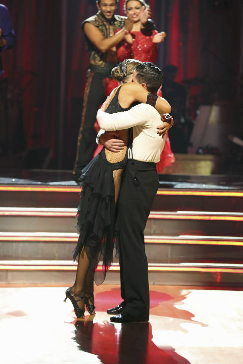 Elizabeth Berkley and Val Chmerkovskiy react to being safe on week four of &#39;Dancing With The Stars&#39; on Oct. 7, 2013. They received 27 out of 30 points from the judges for their Argentine Tango. <span class=meta>(ABC Photo &#47; Adam Taylor)</span>