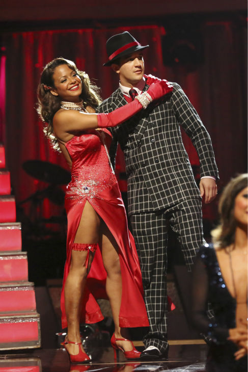 "<div class=""meta image-caption""><div class=""origin-logo origin-image ""><span></span></div><span class=""caption-text"">Christina Milian and Mark Ballas react to being safe on week four of 'Dancing With The Stars' on Oct. 7, 2013. They received 24 out of 30 points from the judges for their Foxtrot. (ABC Photo / Adam Taylor)</span></div>"