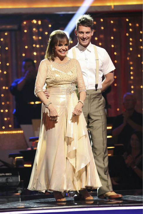 "<div class=""meta ""><span class=""caption-text "">Valerie Harper and Tristan MacManus await their fate on week four of 'Dancing With The Stars' on Oct. 7, 2013. They received 18 out of 30 points from the judges for their Viennese Waltz. (ABC Photo / Adam Taylor)</span></div>"