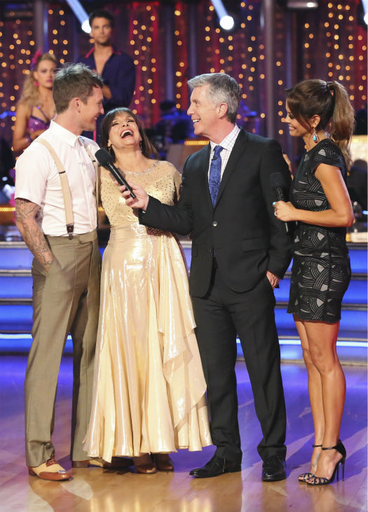 "<div class=""meta ""><span class=""caption-text "">Valerie Harper and Tristan MacManus react to being eliminated on week four of 'Dancing With The Stars' on Oct. 7, 2013. They received 18 out of 30 points from the judges for their Viennese Waltz. (ABC Photo / Adam Taylor)</span></div>"