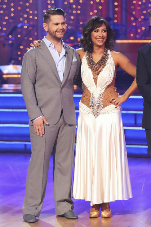 "<div class=""meta ""><span class=""caption-text "">Jack Osbourne and Cheryl Burke await their fate on week five of 'Dancing With The Stars' on Oct. 14, 2013. They received 27 out of 30 points from the judges for their Waltz. (ABC Photo / Adam Taylor)</span></div>"