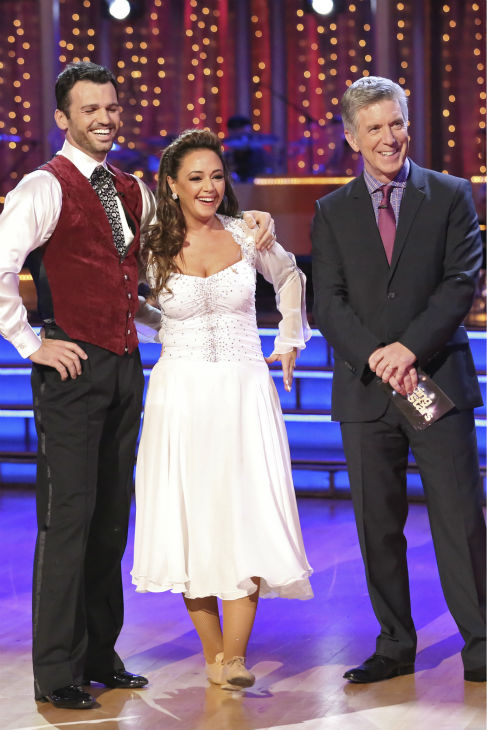 Leah Remini and Tony Dovolani await their fate on week five of &#39;Dancing With The Stars&#39; on Oct. 14, 2013. They received 22 out of 30 points from the judges for their Contemporary routine. <span class=meta>(ABC Photo &#47; Adam Taylor)</span>
