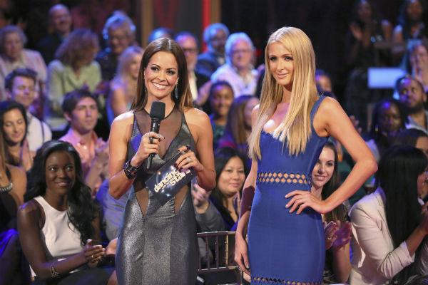 Paris Hilton appears with co-host Brooke Burke-Charvet on week five of &#39;Dancing With The Stars&#39; on Oct. 14, 2013. They received 27 out of 30 points from the judges for their Waltz. <span class=meta>(ABC Photo &#47; Adam Taylor)</span>