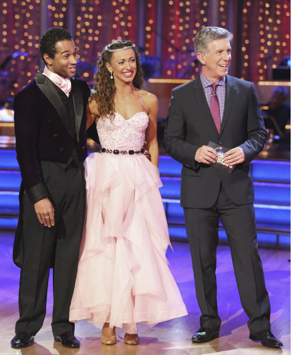"<div class=""meta ""><span class=""caption-text "">Corbin Bleu and Karina Smirnoff await their fate on week five of 'Dancing With The Stars' on Oct. 14, 2013. They received 28 out of 30 points from the judges for their Foxtrot. (ABC Photo / Adam Taylor)</span></div>"