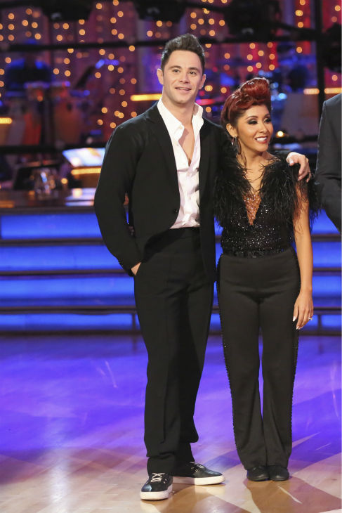 Nicole &#39;Snooki&#39; Polizzi and Sasha Farber await their fate on week five of &#39;Dancing With The Stars&#39; on Oct. 14, 2013. They received 27 out of 30 points from the judges for their Jazz. <span class=meta>(ABC Photo &#47; Adam Taylor)</span>
