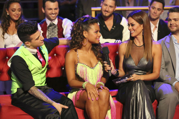 "<div class=""meta ""><span class=""caption-text "">Christina Milian and Mark Ballas talk to co-host Brooke Burke-Charvet on week five of 'Dancing With The Stars' on Oct. 14, 2013. They received 28 out of 30 points from the judges. (ABC Photo / Adam Taylor)</span></div>"