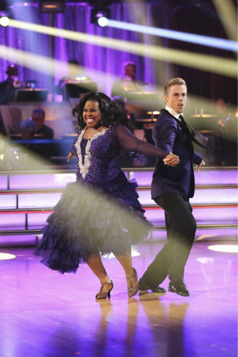 Amber Riley and Derek Hough dance the Foxtrot on week five of &#39;Dancing With The Stars&#39; on Oct. 14, 2013. They received 26 out of 30 points from the judges. <span class=meta>(ABC Photo &#47; Adam Taylor)</span>