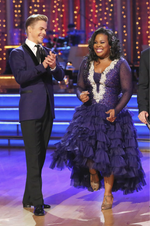 "<div class=""meta ""><span class=""caption-text "">Amber Riley and Derek Hough dance the Foxtrot on week five of 'Dancing With The Stars' on Oct. 14, 2013. They received 26 out of 30 points from the judges. (ABC Photo / Adam Taylor)</span></div>"