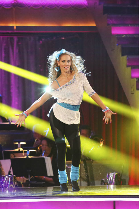 "<div class=""meta ""><span class=""caption-text "">Elizabeth Berkley and Val Chmerkovskiy (not pictured) dance the Jive on week five of 'Dancing With The Stars' on Oct. 14, 2013. They received 26 out of 30 points from the judges. (ABC Photo / Adam Taylor)</span></div>"