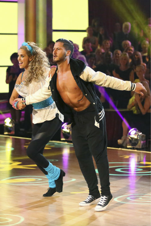 "<div class=""meta ""><span class=""caption-text "">Elizabeth Berkley and Val Chmerkovskiy dance the Jive on week five of 'Dancing With The Stars' on Oct. 14, 2013. They received 26 out of 30 points from the judges. (ABC Photo / Adam Taylor)</span></div>"