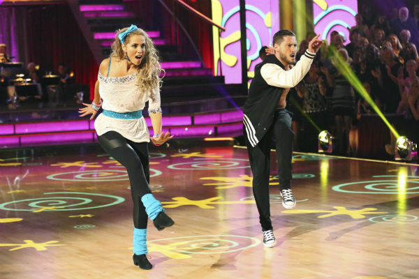 Elizabeth Berkley and Val Chmerkovskiy dance the Jive on week five of 'Dancing With The Stars' on Oct. 14, 2013. They received 26 out of 30 points from the judges.