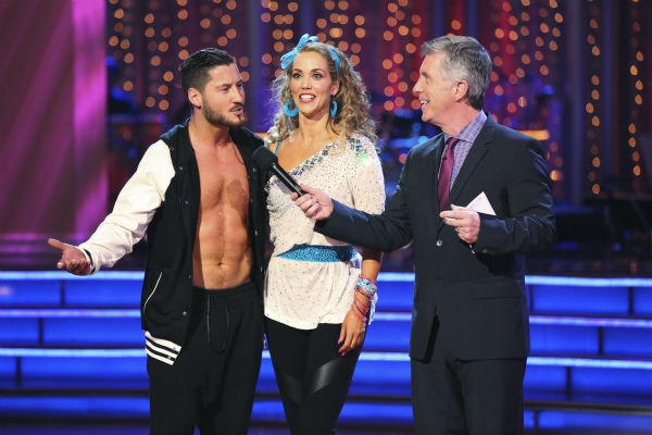 "<div class=""meta ""><span class=""caption-text "">Elizabeth Berkley and Val Chmerkovskiy await their fate on week five of 'Dancing With The Stars' on Oct. 14, 2013. They received 26 out of 30 points from the judges for their Jive. (ABC Photo / Adam Taylor)</span></div>"