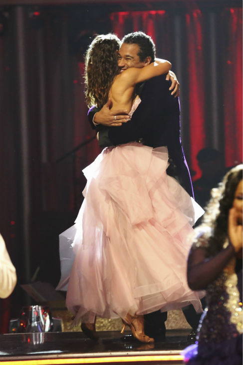 Corbin Bleu and Karina Smirnoff react to being safe on week five of &#39;Dancing With The Stars&#39; on Oct. 14, 2013. They received 28 out of 30 points from the judges for their Foxtrot. <span class=meta>(ABC Photo &#47; Adam Taylor)</span>