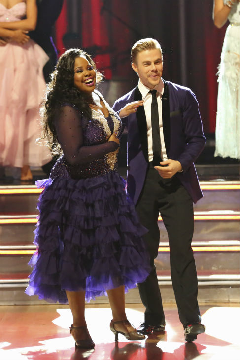 "<div class=""meta ""><span class=""caption-text "">Amber Riley and Derek Hough react to being safe on week five of 'Dancing With The Stars' on Oct. 14, 2013. They received 26 out of 30 points from the judges for their Foxtrot. (ABC Photo / Adam Taylor)</span></div>"