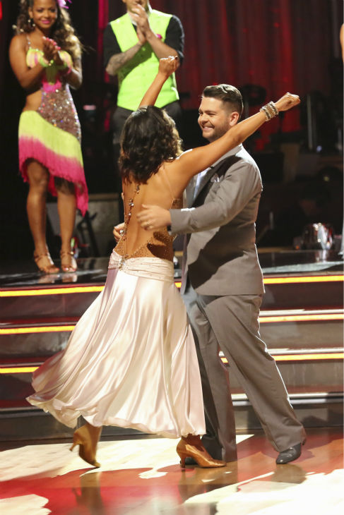 "<div class=""meta ""><span class=""caption-text "">Jack Osbourne and Cheryl Burke react to being safe on week five of 'Dancing With The Stars' on Oct. 14, 2013. They received 27 out of 30 points from the judges for their Waltz. (ABC Photo / Adam Taylor)</span></div>"