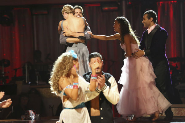 Brant Daugherty and Peta Murgatroyd react to being safe on week five of &#39;Dancing With The Stars&#39; on Oct. 14, 2013. They received 27 out of 30 points from the judges for their Contemporary routine. Also pictured: Corbin Bleu and Karina Smirnoff. <span class=meta>(ABC Photo &#47; Adam Taylor)</span>