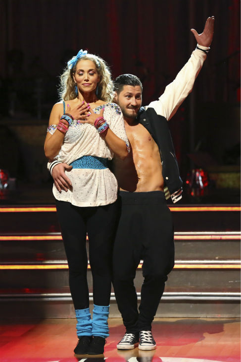 Elizabeth Berkley and Val Chmerkovskiy react to being safe on week five of &#39;Dancing With The Stars&#39; on Oct. 14, 2013. They received 26 out of 30 points from the judges for their Jive. <span class=meta>(ABC Photo &#47; Adam Taylor)</span>