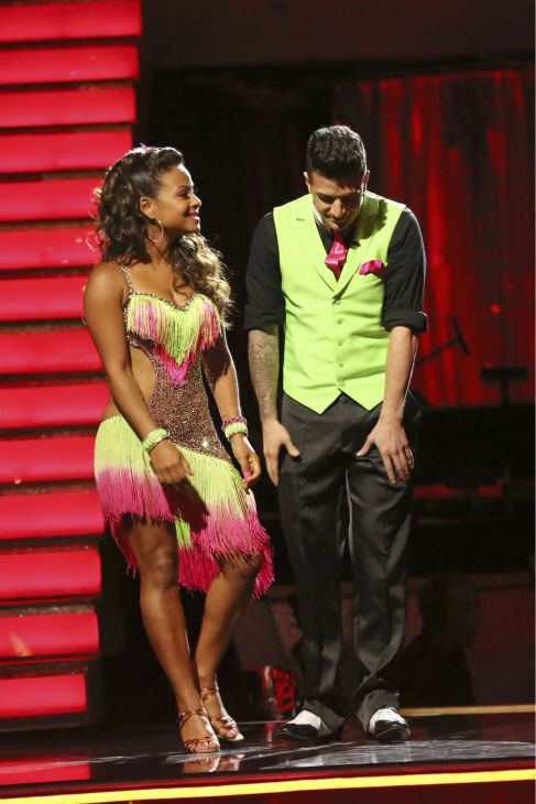 "<div class=""meta image-caption""><div class=""origin-logo origin-image ""><span></span></div><span class=""caption-text"">Christina Milian and Mark Ballas react to being eliminated on week five of 'Dancing With The Stars' on Oct. 14, 2013. They received 28 out of 30 points from the judges for their Cha Cha Cha. (ABC Photo / Adam Taylor)</span></div>"
