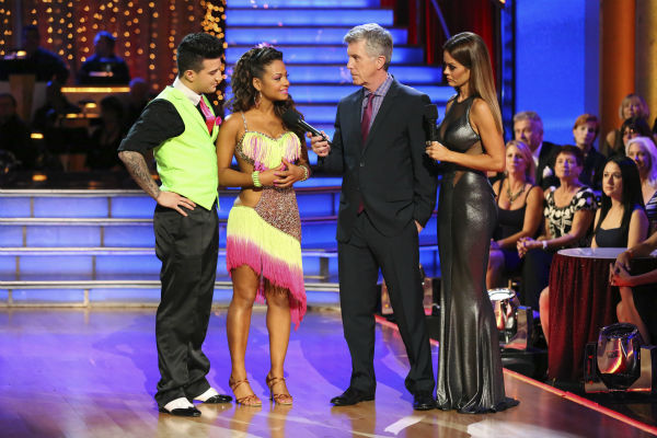 "<div class=""meta ""><span class=""caption-text "">Christina Milian and Mark Ballas react to being eliminated on week five of 'Dancing With The Stars' on Oct. 14, 2013. They received 28 out of 30 points from the judges for their Cha Cha Cha. (ABC Photo / Adam Taylor)</span></div>"