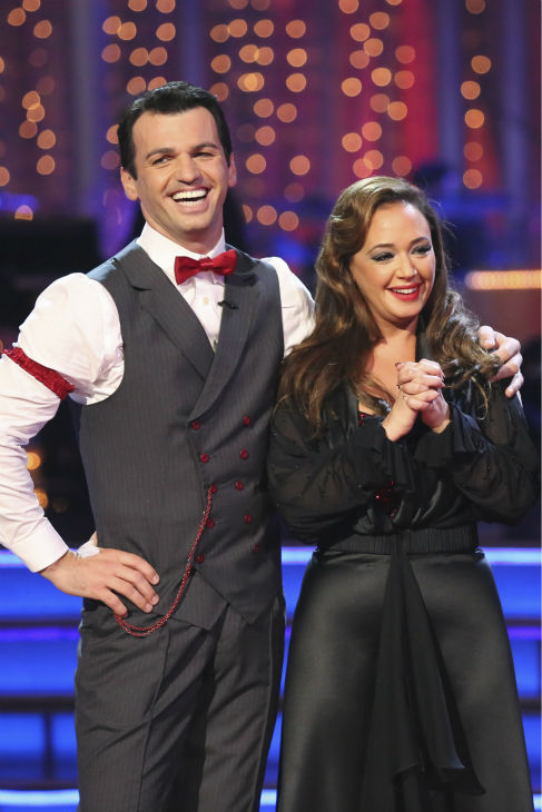 "<div class=""meta image-caption""><div class=""origin-logo origin-image ""><span></span></div><span class=""caption-text"">Leah Remini and Tony Dovolani danced the Quickstep on week six of 'Dancing With The Stars' on Oct. 21, 2013. They received 27 out of 30 points from the judges. The two received 1 out of 4 extra points from the 'Switch-Up Challenge.' (ABC / Adam Taylor)</span></div>"