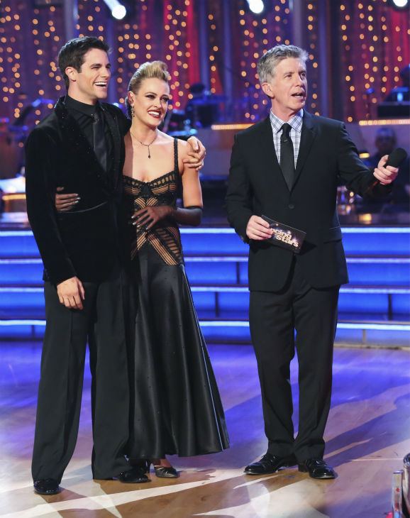 DANCING WITH THE STARS - &#34;Episode 1706&#34; - Eight remaining couples hit the dance floor and face an exciting new challenge on &#34;Dancing with the Stars,&#34; MONDAY, OCTOBER 21 &#40;8:00-10:01 p.m., ET&#41;. Each couple competed in an individual dance style they have not yet done as well as take part in the first ever &#34;Switch-Up Challenge.&#34;  &#40;ABC&#47;Adam Taylor&#41; BRANT DAUGHERTY, PETA MURGATROYD, TOM BERGERON <span class=meta>(ABC &#47; Adam Taylor)</span>
