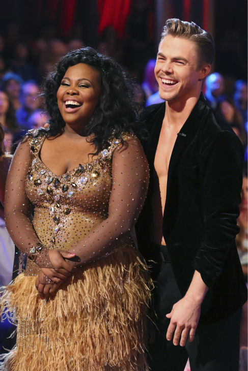 "<div class=""meta ""><span class=""caption-text "">Amber Riley and Derek Hough danced the Samba on week six of 'Dancing With The Stars' on Oct. 21, 2013. They received 28 out of 30 points from the judges. The two received 4 out of 4 extra points from the 'Switch-Up Challenge.' (ABC / Adam Taylor)</span></div>"
