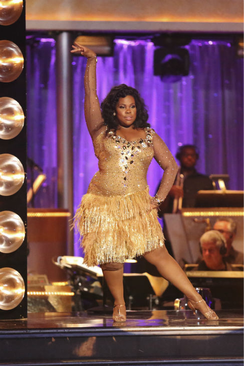 Amber Riley and Derek Hough &#40;not pictured&#41; dance the Samba on week six of &#39;Dancing With The Stars&#39; on Oct. 21, 2013. They received 28 out of 30 points from the judges. The two received 4 out of 4 extra points from the &#39;Switch-Up Challenge.&#39; <span class=meta>(ABC &#47; Adam Taylor)</span>