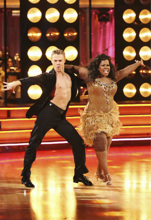 "<div class=""meta ""><span class=""caption-text "">Amber Riley and Derek Hough dance the Samba on week six of 'Dancing With The Stars' on Oct. 21, 2013. They received 28 out of 30 points from the judges. The two received 4 out of 4 extra points from the 'Switch-Up Challenge.' (ABC / Adam Taylor)</span></div>"
